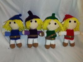 Four Swords Link Amigurumis by KeybladeAlchemist