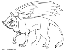 Griffon Line Art by Greykitty