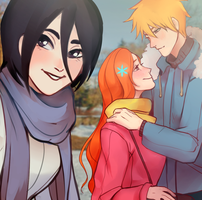 IchiHime and Rukia by delkas377