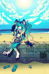 AI-chan's Beach day by KatnippD