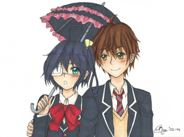 Rikka and Yuuta by Noaruu
