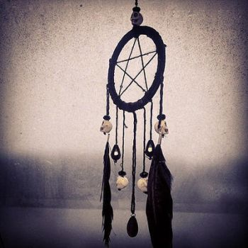 Pentacle dreamcatcher with skull beads by Zilk-Artwork