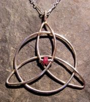 Ruby Triquetra Necklace by MoonLitCreations