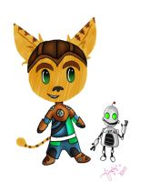 Ratchet and Clank Chibis by fireflyinnocence