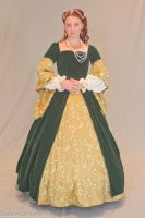 Green and Gold Tudor Gown by EmeraldRose3