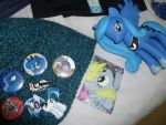 Buttons+Derpy Folio card+Luna vinyl figure by ChaoticNote