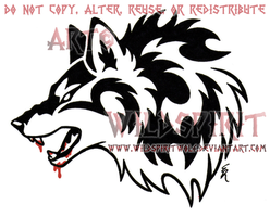 Bloody Jawed Wolf Head Tattoo by WildSpiritWolf