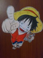 Luffy on my door by Kimoto-chan