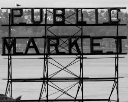 Public Market sign for Pikes Place Market by Pabloramosart