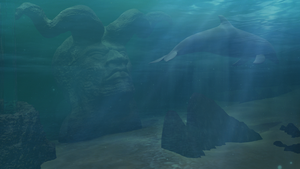 Ancient Evil: A statue in the Ocean by AskGriff