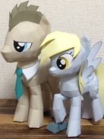 papercraft Derpy and Dr. Hooves by robicraft