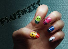 Plushies on nails by AloneInUniverseArt