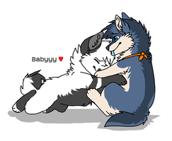 Calinouw with baby by Wolfunny