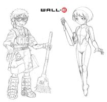 Humanized Walle and Eve by odaleex