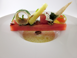 Watermelon - Pineapple, Basil, Creme Fraiche by TheSilverChef