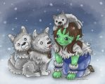 Frostwolf puppies in the snow by monniponi