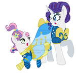 Rarity and Sweetie Belle by rem-ains