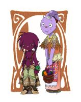 Aboriginal Bunnies: Lilac and Asparagus by Evelynism