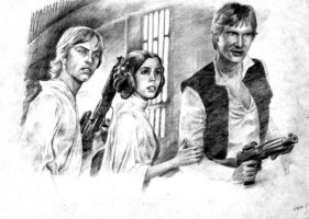 Leia, Luke and Han by Loye