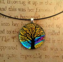 Yellow Sunset Tree of Life Glass by FusedElegance