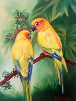 Two little parrots by Niruh