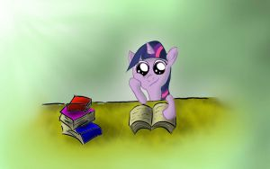 Filly Twilight Sparkle reading a book by AndyError