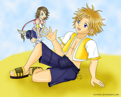 KH2: If Yuna met Tidus by Cornini