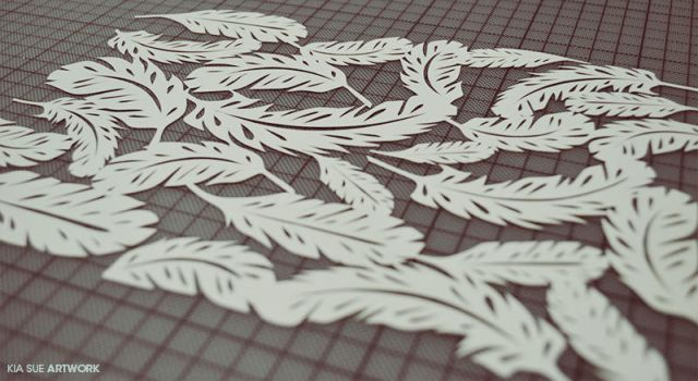feathers papercut by KiaSuee