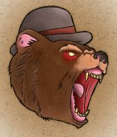 Traditional tattoo Bear in Bowler Hat by Psychoead