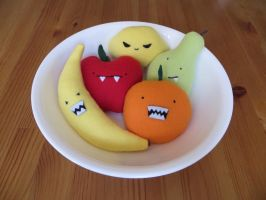Bowl of Plush Monster Fruit by Neoitvaluocsol
