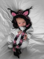 custom pink and black kitty hood by Archaical