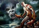 Oil on canvas GOD OF WAR by m-a-c-h-o