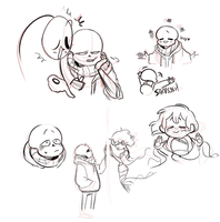 Undertale au doodles by MUSTACHEfreak