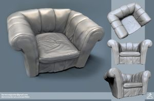 Tudor House - Leather Chair - High Poly by DTHerculean