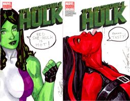 She Hulk and Red She Hulk by daikkenaurora