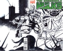 Hulk vs TMNT commissioned sketch cover by GraphixRob