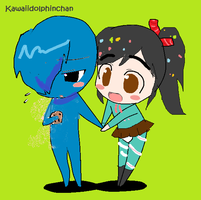 cookie monster and vanellope by kawaiidolphinchan