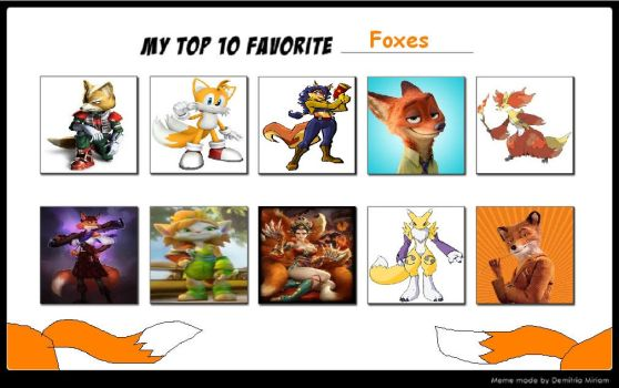Top 10 Fox Characters by Foxboy614