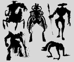 Creature silhouettes by Karollos