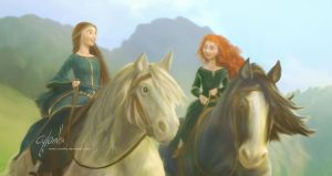 Merida and Elinor. Touch the sky. by cylonka