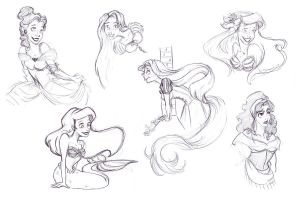 Disney SketchDump by RamblinQuixotic