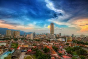 Sunset view of Georgetown, Penang by fighteden