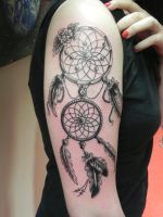 Dreamcatcher, Black and Grey by rumpelstilzchen