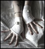 Vanity White Fingerless Gloves by ZenAndCoffee