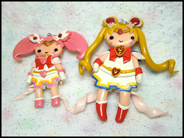 Super Sailor Moon + Chibi Moon Charms by GrandmaThunderpants