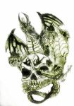 Skull and Dragon by Black-Velvet-89