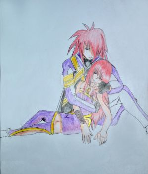 Kratos and Serah -  Father and Daughter by penelomotte