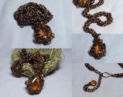 bronze and amber necklace by ACrowsCollection