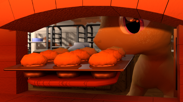 Cooked muffins (Blender Cycles) by PercyTechnic