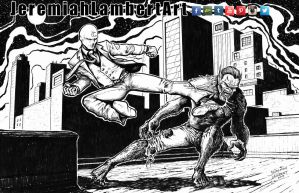 Moon Knight vs Werewolf by Night by JeremiahLambertArt